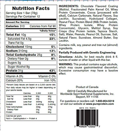 Pure Protein High Protein Bar, Chocolate Peanut Butter, 2.75-Ounce Bars (Pack of 12)