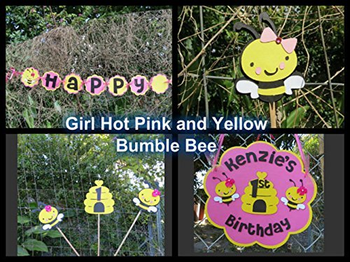 Girl Bumble Bee Party Decorations - Complete Party Package - Hot Pink and Yellow by Monkey Lime Studios