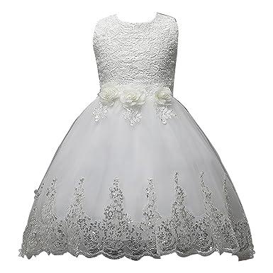 71e827623b913 BOZEVON Enfant Fille Robe de Princesse Paillettés sans Manches Tutu Robe de  Soirée Cérémonie Mariage Baptême