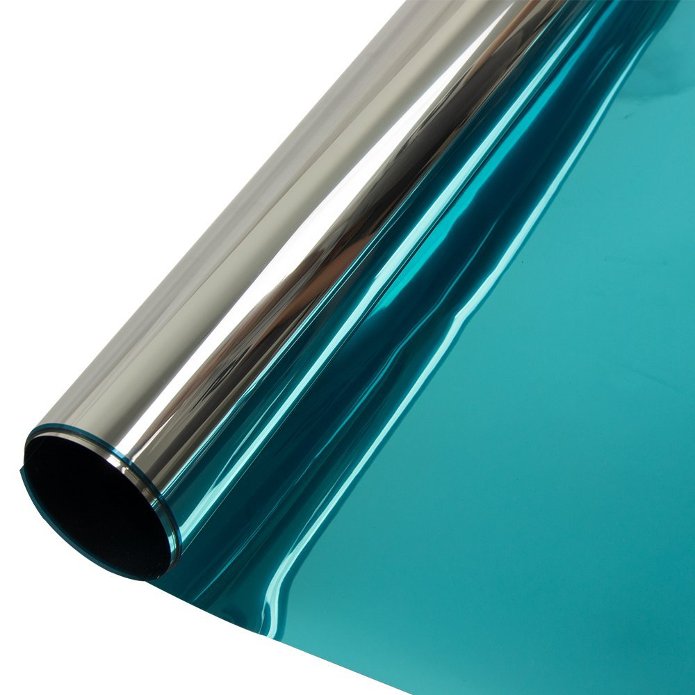 HOHOFILM 60'' x 33ft Roll Blue Silver Window Film Daytime Privacy One Way Vision Sun Blocking Mirror Heat Reduction Reflection Adhesive for Glass by HOHOFILM