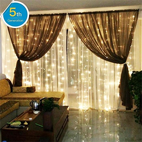 Bedroom Wedding Curtain Lights AMARS 3M X 3M Window String Fairy Waterfall Icicle Lights (Warm White, 8 Modes, Safe Voltage, UL Listed) (Waterfall 3 Light)