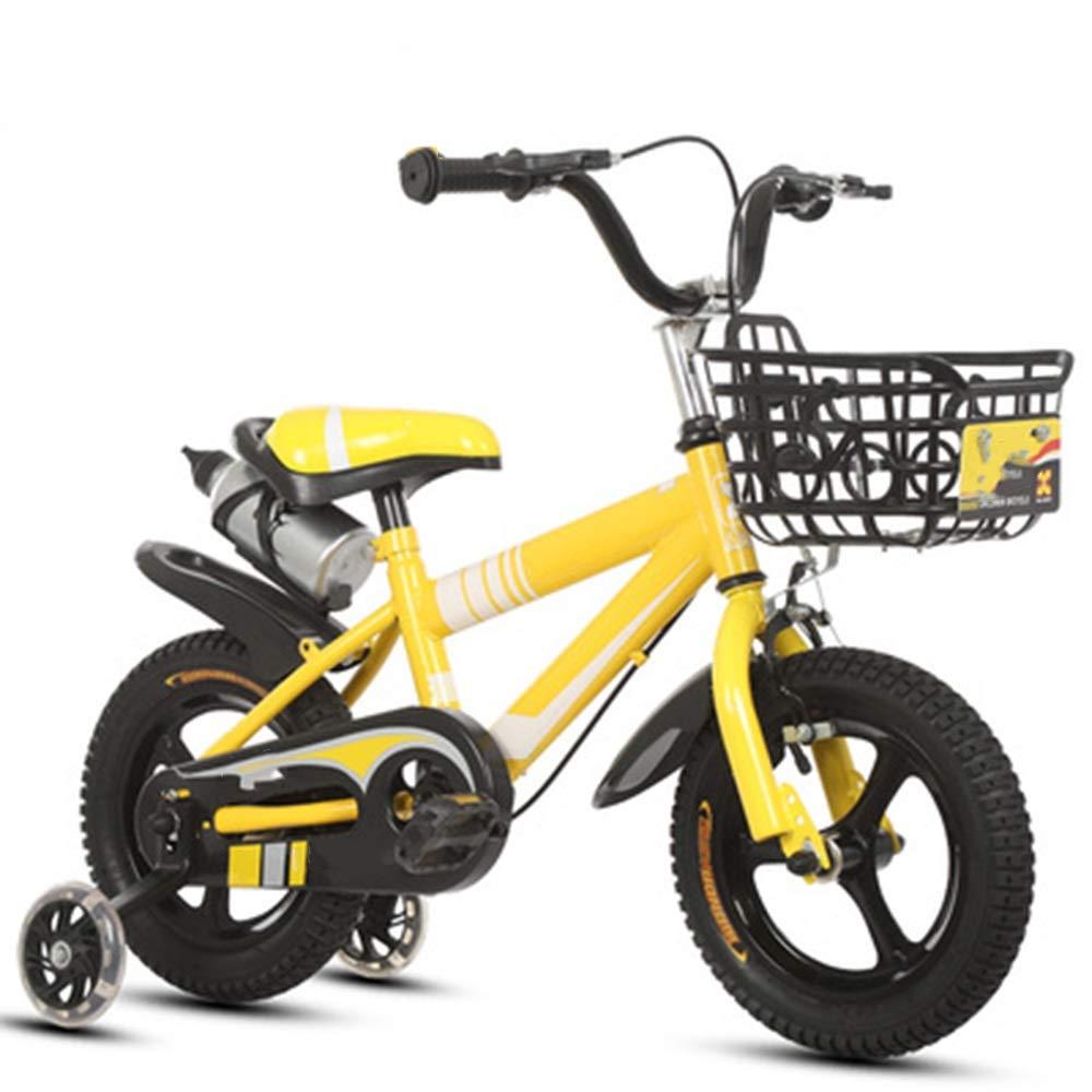 Axdwfd 子ども用自転車 子供用自転車高炭素鋼子供用自転車(トレーニングホイール付き)12/14/16/18/20インチ男の子と女の子のサイクリング、子供用(211歳) 16in イエロー いえろ゜ B07PQY2VGG