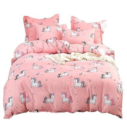 Amazoncom Ludan Unicorn Bedding 3 Piece Flower Girl Bedding Set