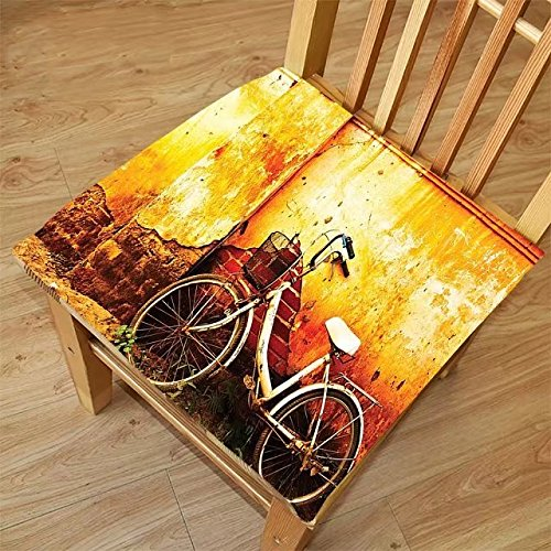 Nalahome Set of 2 Waterproof Cozy Seat Protector Cushion Bicycle Decor Vintage Bike in front of A Rusty Dirty Cracked Broken Brick Wall City Lifestyle Artsy Photo Sepia Printing Size 16x16inch (Brick City Furniture Fabrics)