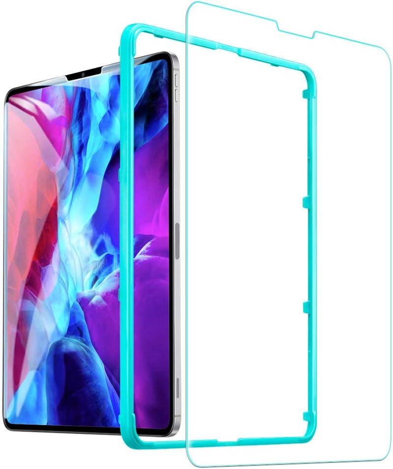 ESR Protector de pantalla para iPad Pro de 12.9'' (2020/2018), [marco de instalación libre] [resistente a los arañazos] [dureza 9h] Protector de pantalla de vidrio templado HD transparente, 1 paquete
