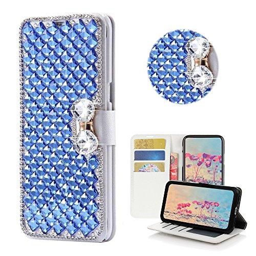 STENES Google Pixel XL Case - STYLISH - 3D Handmade Bling Crystal Square Lattice Bowknot Desgin Wallet Credit Card Slots Fold Media Stand Leather Case for Google Pixel XL - Blue