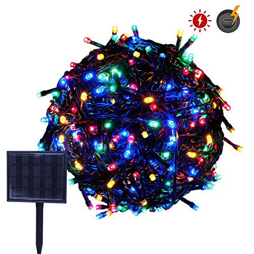 RPGT Solar String Lights 33m 300LED USB Charging Fairy String Lights Waterproof 8 Modes Solar Powered Starry Lighting (Multi Color) for Outdoor Christmas Tree Garden Path Wedding Party Decoration