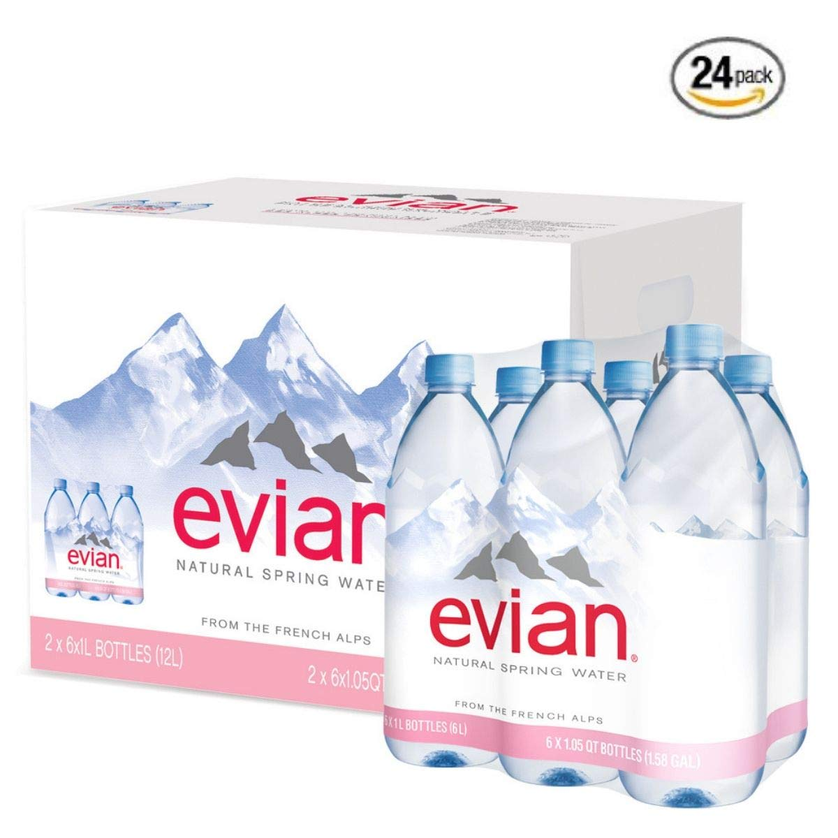evian Natural Spring Water, 1 Liter (Pack of 24) by evian (Image #1)