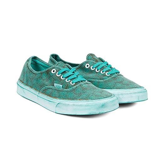 Vans AUTHENTIC+ Overwash Paisley Turquoise Unisex Shoes (6 Men - 7.5 Women)