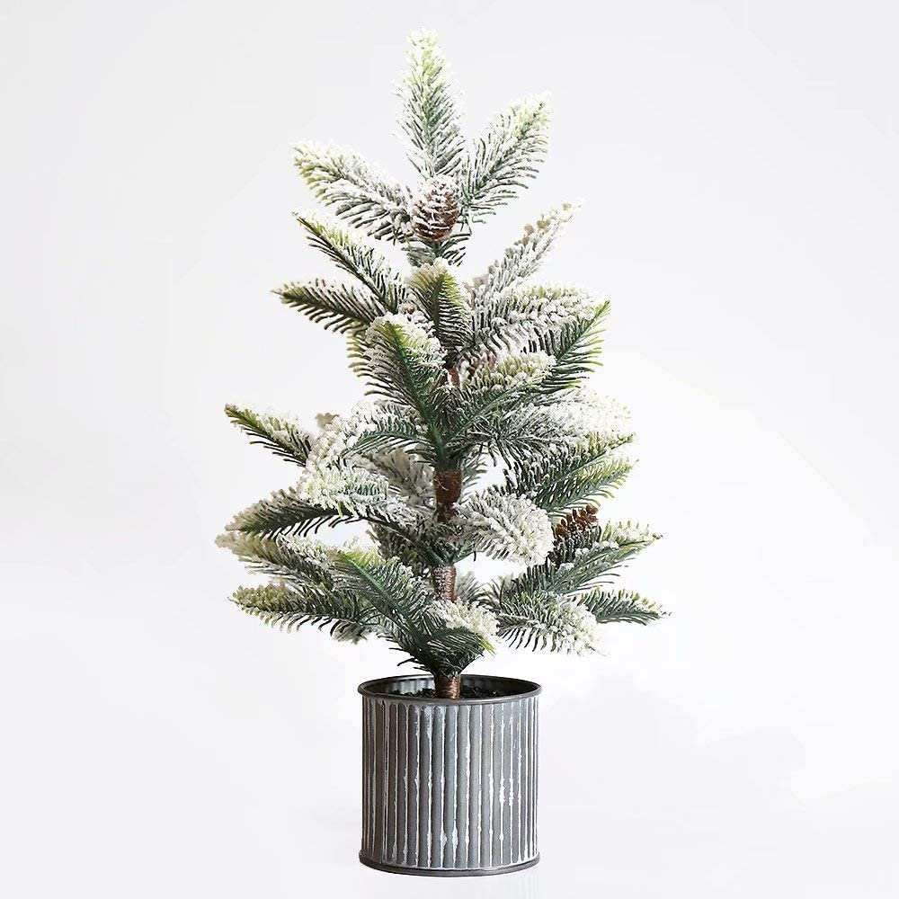 N/H Emadgift Mini Pine Artificial Christmas Tree with Metal Bucket Base 17 Inch Includes Pinecone for Christmas Tabletop Decor and Indoor Decor Desktop Decorations