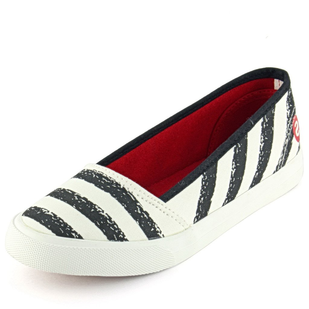 DeVEE Women s Striped Upper White - Black Belly Canvas Shoe UK 7  Buy  Online at Low Prices in India - Amazon.in aaca39376