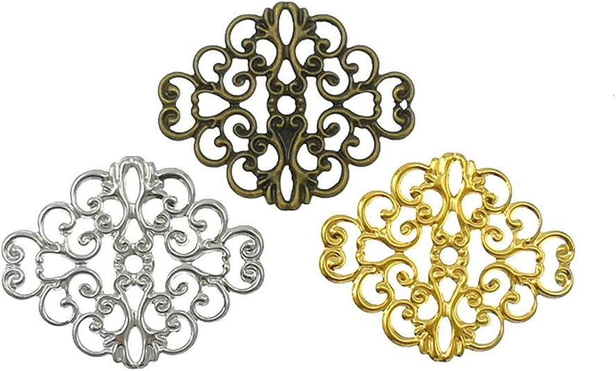 Color: Gold 20pcs Kamisa 20Pcs//lot 50mm Filigree Wraps Connectors Embellishments Findings Filigree Flower Wraps Connectors for DIY Jewelry Making 4TUH45R1353