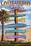 Southern California Beaches - Destinations Sign (12x18 Art Print, Wall Decor Travel Poster)