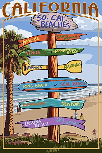 Southern California Beaches - Destinations Sign (12x18 Art Print, Wall Decor Travel Poster)
