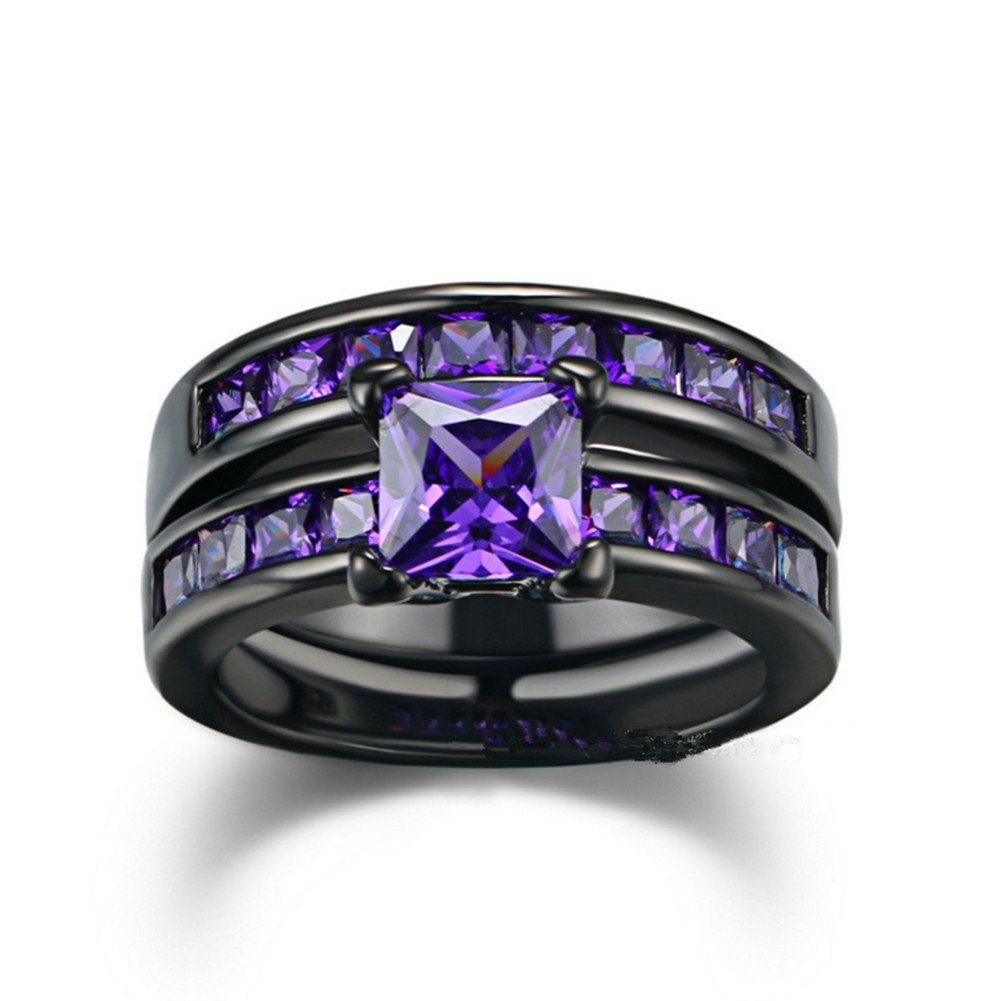 Sunbu Purple Amethyst Ring Sets Size 9 Women's Black Gold Plated Engagement