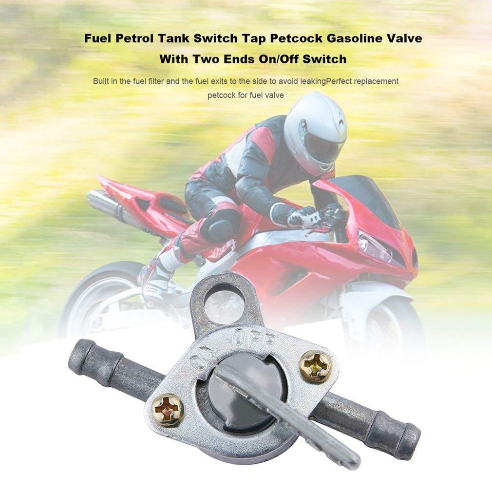 Commutatore del serbatoio di benzina del carburante Rubinetto Valvola a benzina del rubinetto di chiusura con interruttore on//off a due estremit/à per ciclomotore ATV del motociclo