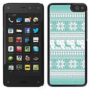 Caucho caso de Shell duro de la cubierta de accesorios de protección BY RAYDREAMMM - Amazon Fire Phone - Patrón trullo reno invierno de punto