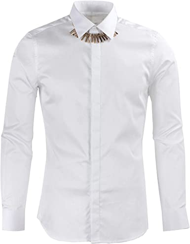 HOSD Camisa de Hombre con Cadena de Hueso para Hombre: Amazon ...
