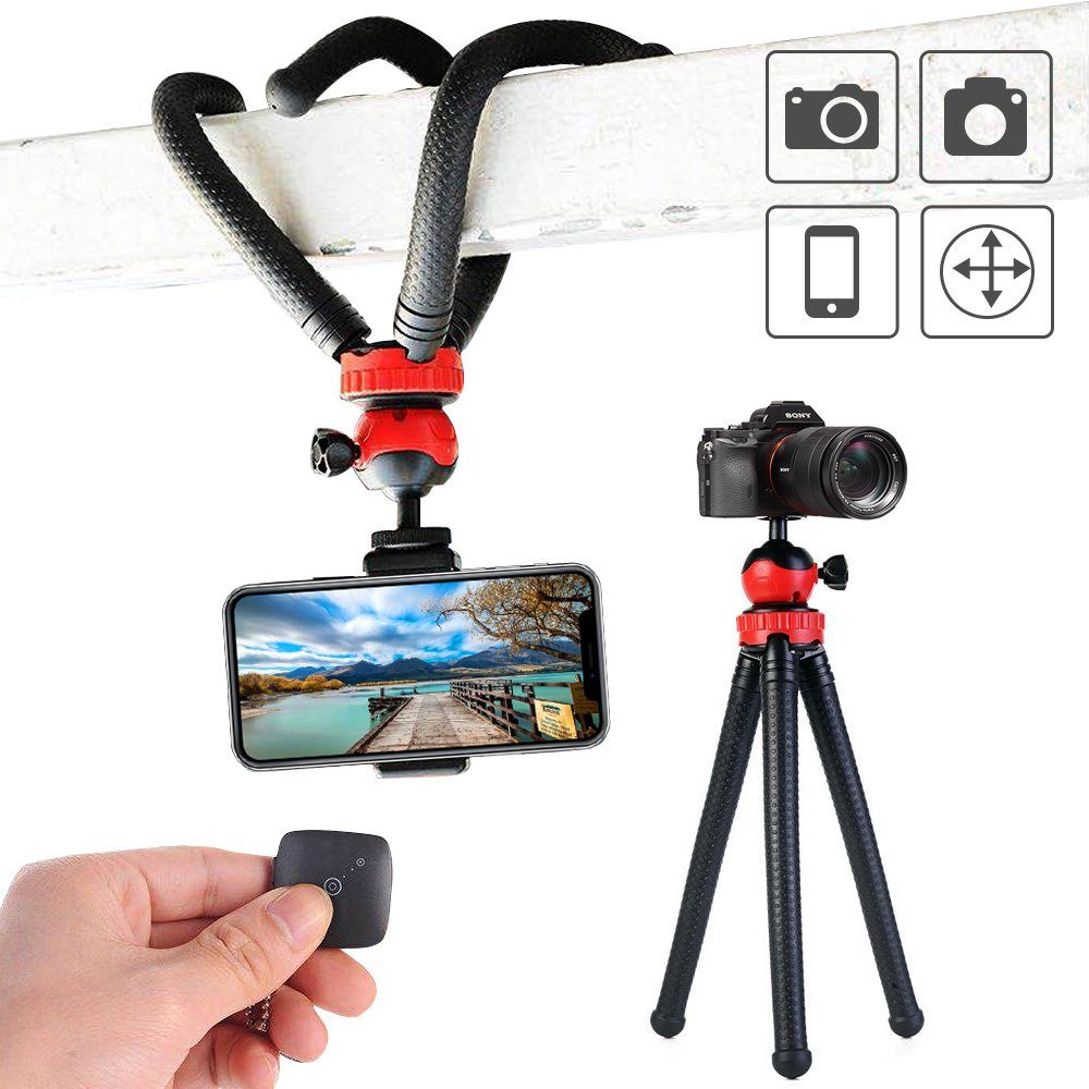 Flexible Tripod,12 Inch Phone Tripod with Wireless Remote Shutter for iPhone and Android Phone, Action Camera Tripod for GoPro Canon Nikon DSLR