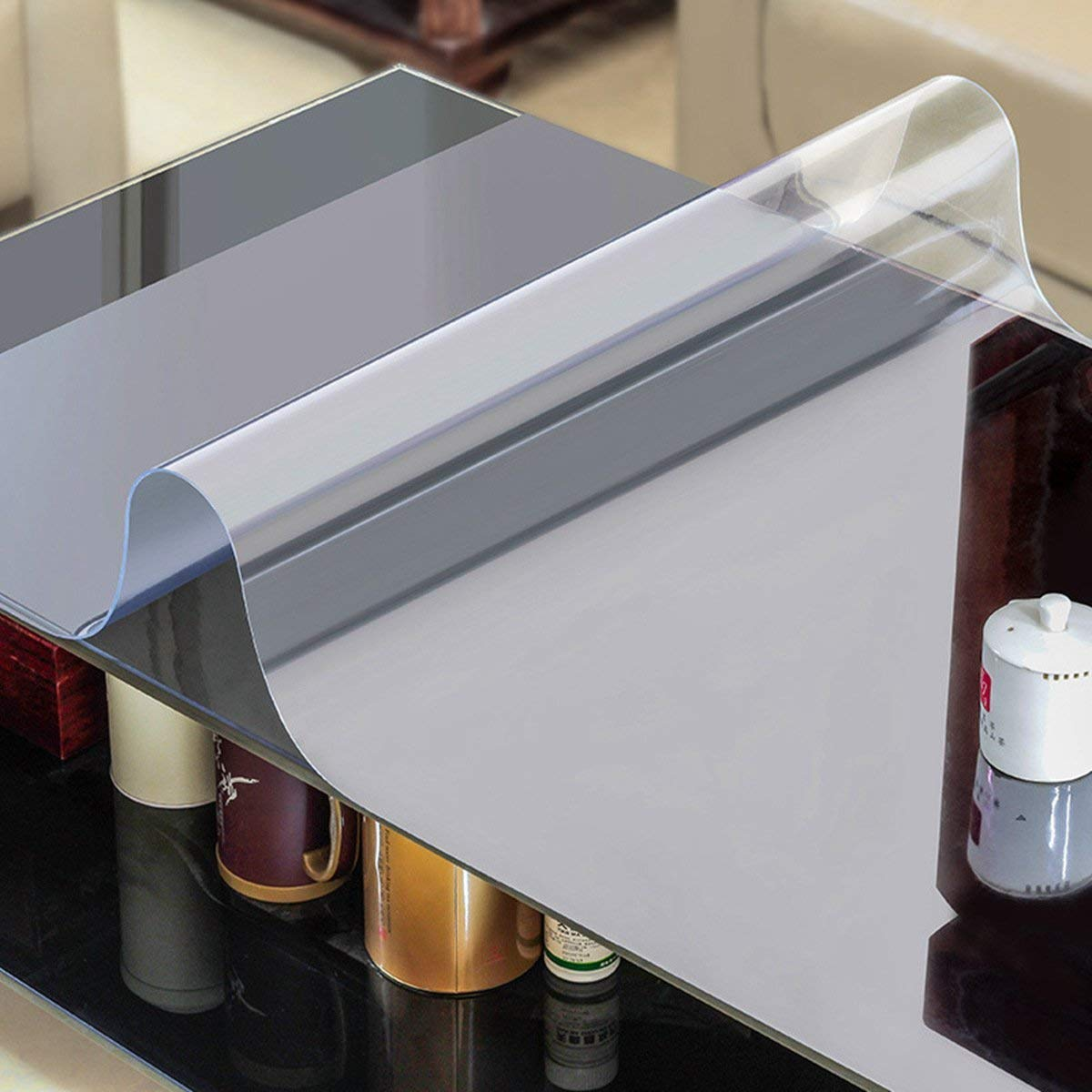 AiXiAng Waterproof Clear PVC Table Cover Protector Rectangle Plastic Tablecloth for Dining Table, Desk,Lab Bench,Marble Top Table Pads Table Covers Coffe Table Protector (2.0 mm Thick, 24 x 48 Inches)