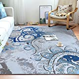 Junovo Contemporary Geometry Collection Area Rug for Living Room Bedroom Dining Room,5′ x 8′,Blue flower Review