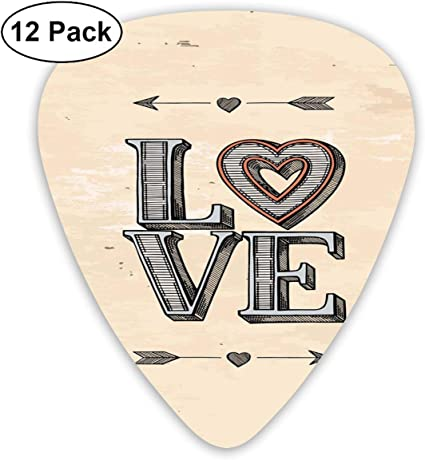 K0k2to Paquete de 12 púas de Guitarra, Letras Gruesas con corazón ...