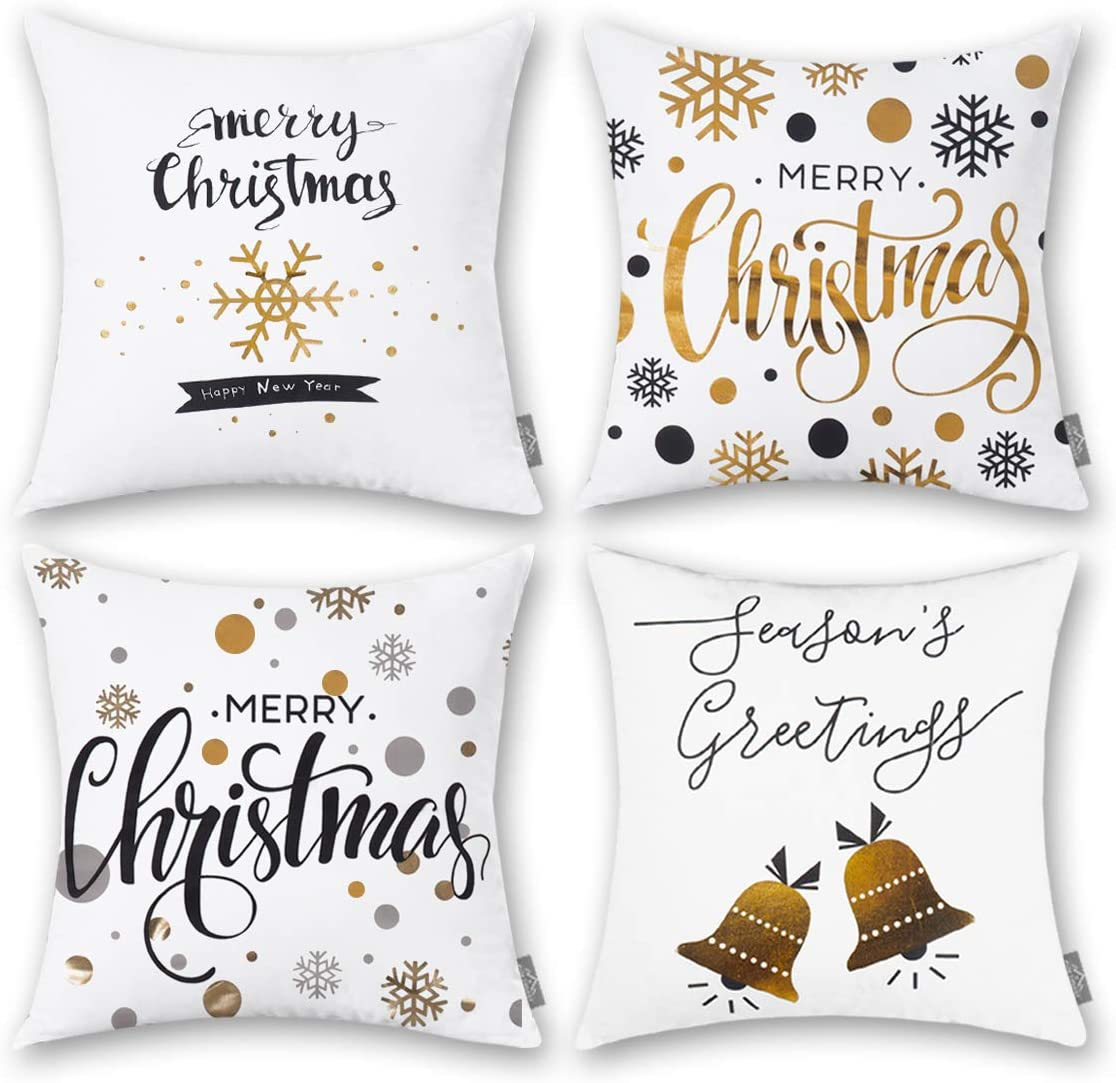HOMFREEST Christmas Throw Pillows Covers Merry Christmas Decor Print  Snowflakes for Home Decoration 18 X 18 Inch Set of 4