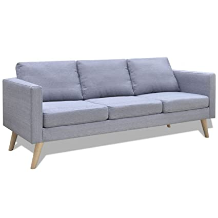 Superieur Daonanba Modern Couch Durable Comfortable 3 Seater Sofa Fabric Light Gray
