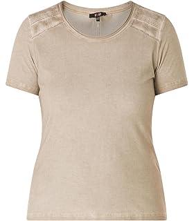 f0db2b51fede Yesta Damen Sommer T-Shirt Braun Große Größen Used-Look Stretch Baumwolle L  XXL