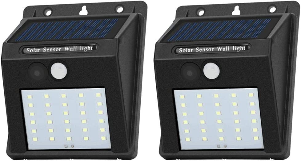 Solar Sensor Lights Outdoor 30 LED Wireless Waterproof Security Solar Motion Sensor Wall Lights for Fence Patio Deck Yard Garden with Motion Activated Auto On/Off (2, Cool White)