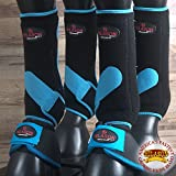 4+2 PK M- HILASON HORSE MEDICINE SPORTS BELL BOOTS FRONT REAR BLACK TURQUOISE