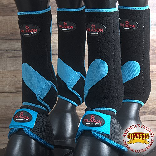 4+2 PK M- HILASON HORSE MEDICINE SPORTS BELL BOOTS FRONT REAR BLACK TURQUOISE by HILASON
