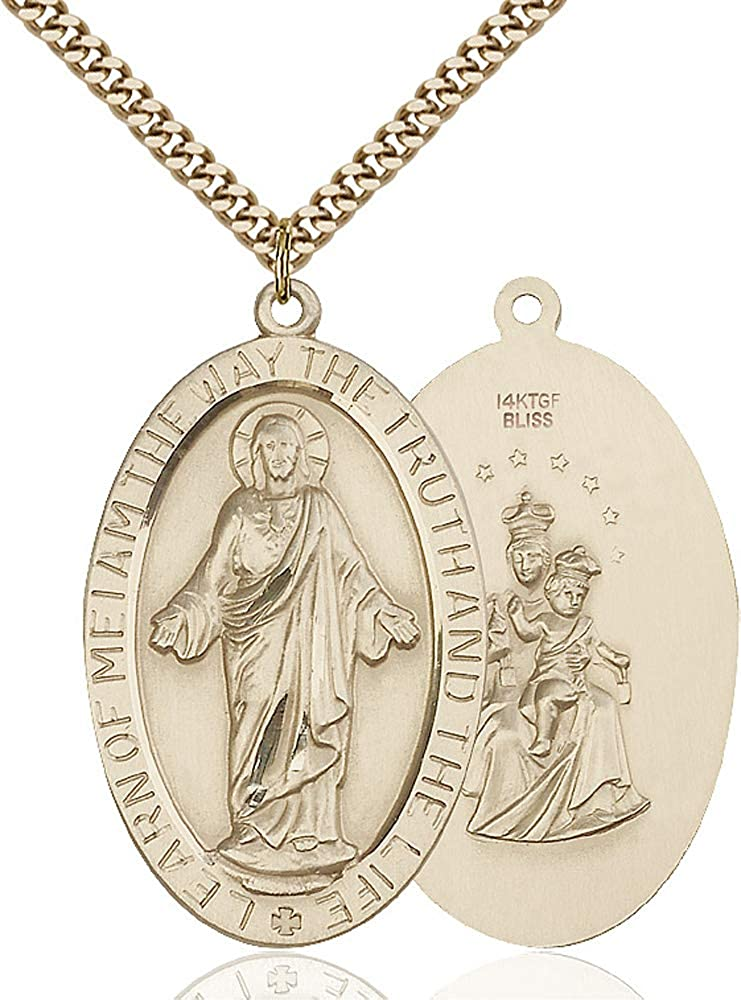 14kt Gold Filled Scapular Pendant Gold Plate Heavy Curb Chain Patron Saint 1 X 7//8