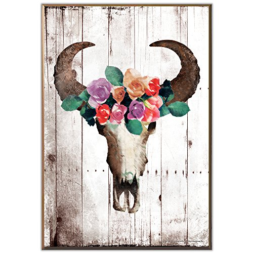 Cattle Cow Bull - Silver Buffalo AD111111 AD Lines Steer Cow Bull Skull Floral Crown Wood Wall Art Plaque, 13 x 19 inches