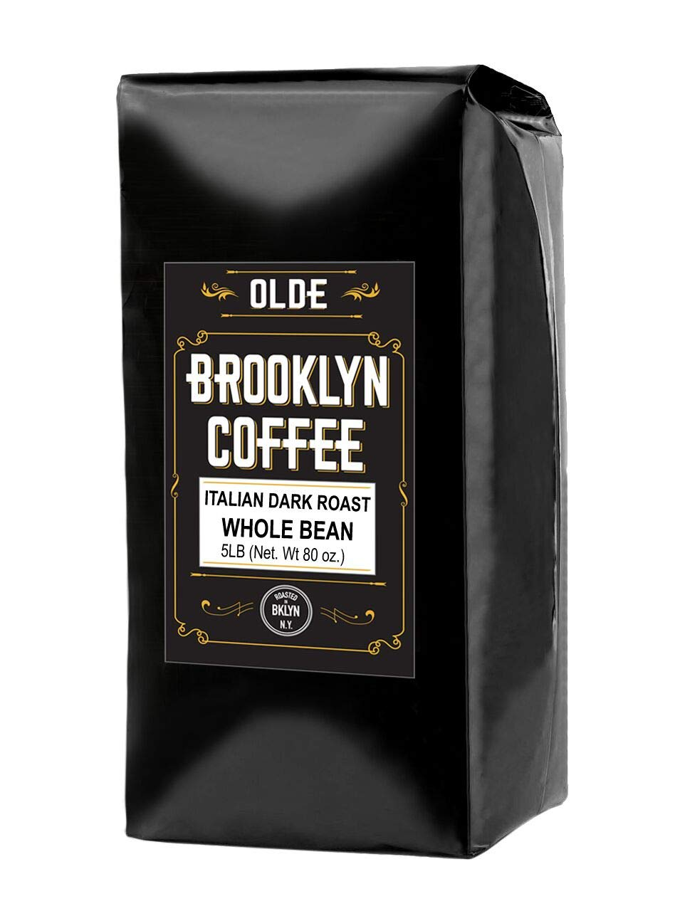 ITALIAN Dark Roast Whole bean - 5 LB Extra Strong Coffee - The World's Strongest Coffee Beans | Classic Black Coffee, Breakfast, House Gourmet, Italian Espresso- Roasted in New York by OLDE BROOKLYN COFFEE