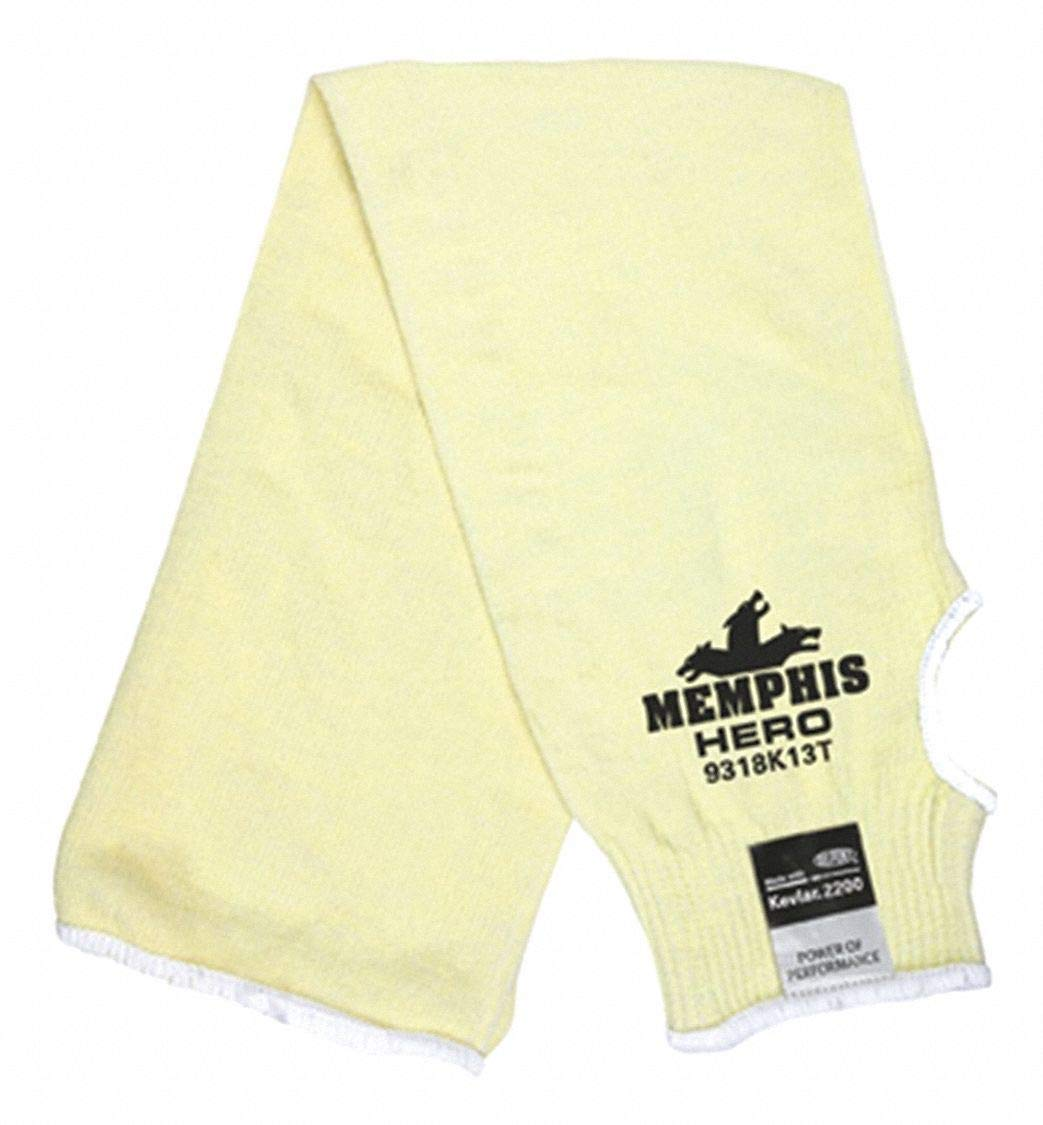Kevlar Sleeve with Thumbhole, 18''L, Elastic Cuff, Yellow, Sleeve Size: Universal pack of 5 by MCR Safety (Image #1)