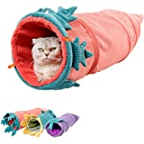 MYIDEA Collapsible Cat Tunnel Tubes Toys - Fun Run Crinkle Play Tunnels for Pets Kittens Rabbits (Vegetables Style, Carrot)