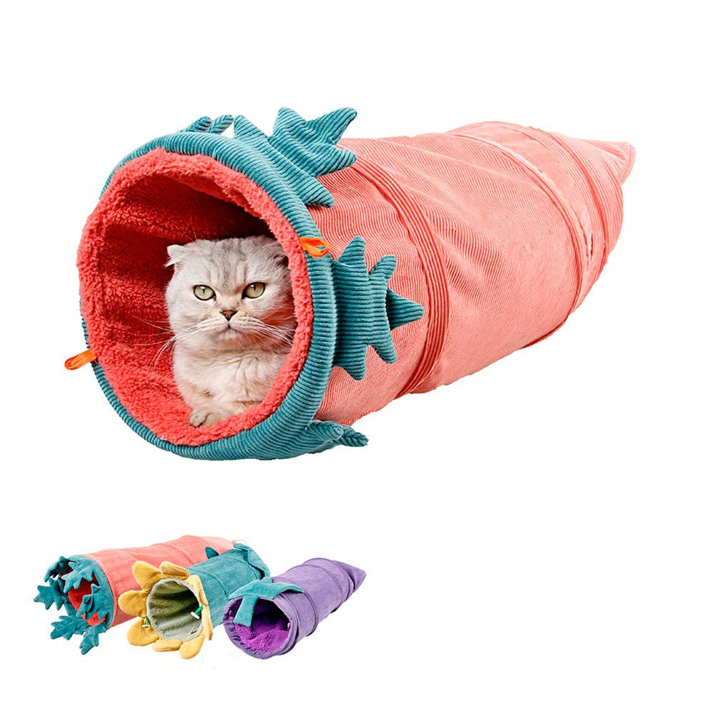 MYIDEA Collapsible Cat Tunnel Tubes Toys - Fun Run Crinkle Play Tunnels for Pets Kittens Rabbits (Vegetables Style, Carrot) by MYIDEA