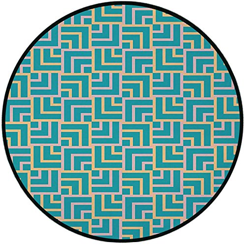 Chair Select Line Shower (Printing Round Rug,Turquoise,Art Deco Style Shapes Like GeometricalSquares with Lines Image Mat Non-Slip Soft Entrance Mat Door Floor Rug Area Rug For Chair Living Room,Pink Yellow and Turquoise)