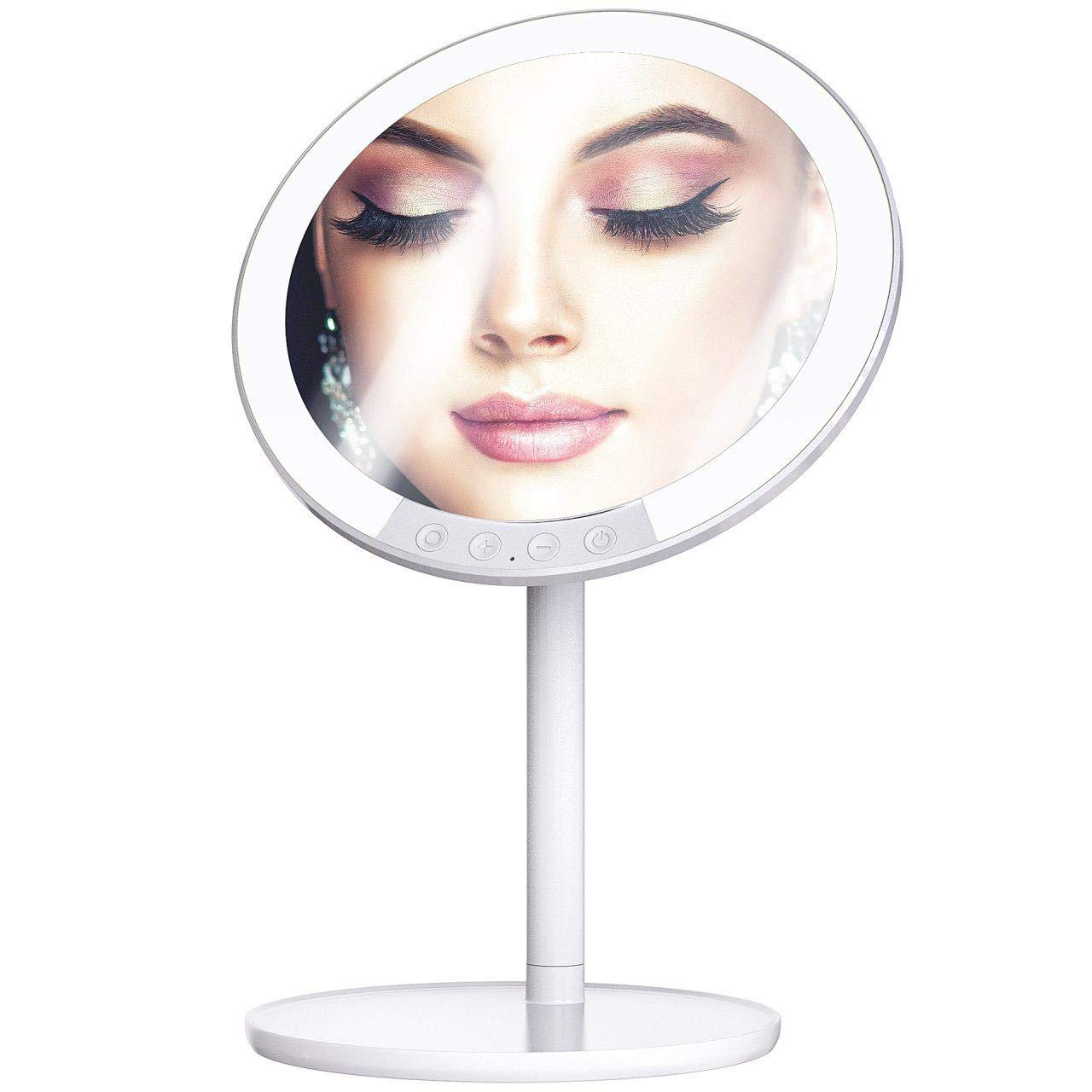 Professional 8.5 Makeup Vanity Mirror LED Lighted with 3 Color Lighting Modes, 66 Pro-Lux Extra-Bright Lights – Rechargeable, 1x-7x Magnification, 90 Degree Rotation for Travel Cosmetic Mirrors