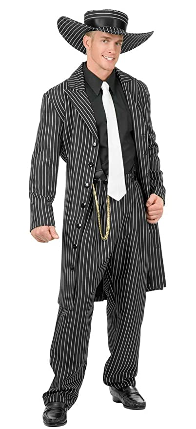 1940s Men's Costumes: WW2, Sailor, Zoot Suits, Gangsters, Detective Adult Black and White Zoot Suit Costume $59.99 AT vintagedancer.com