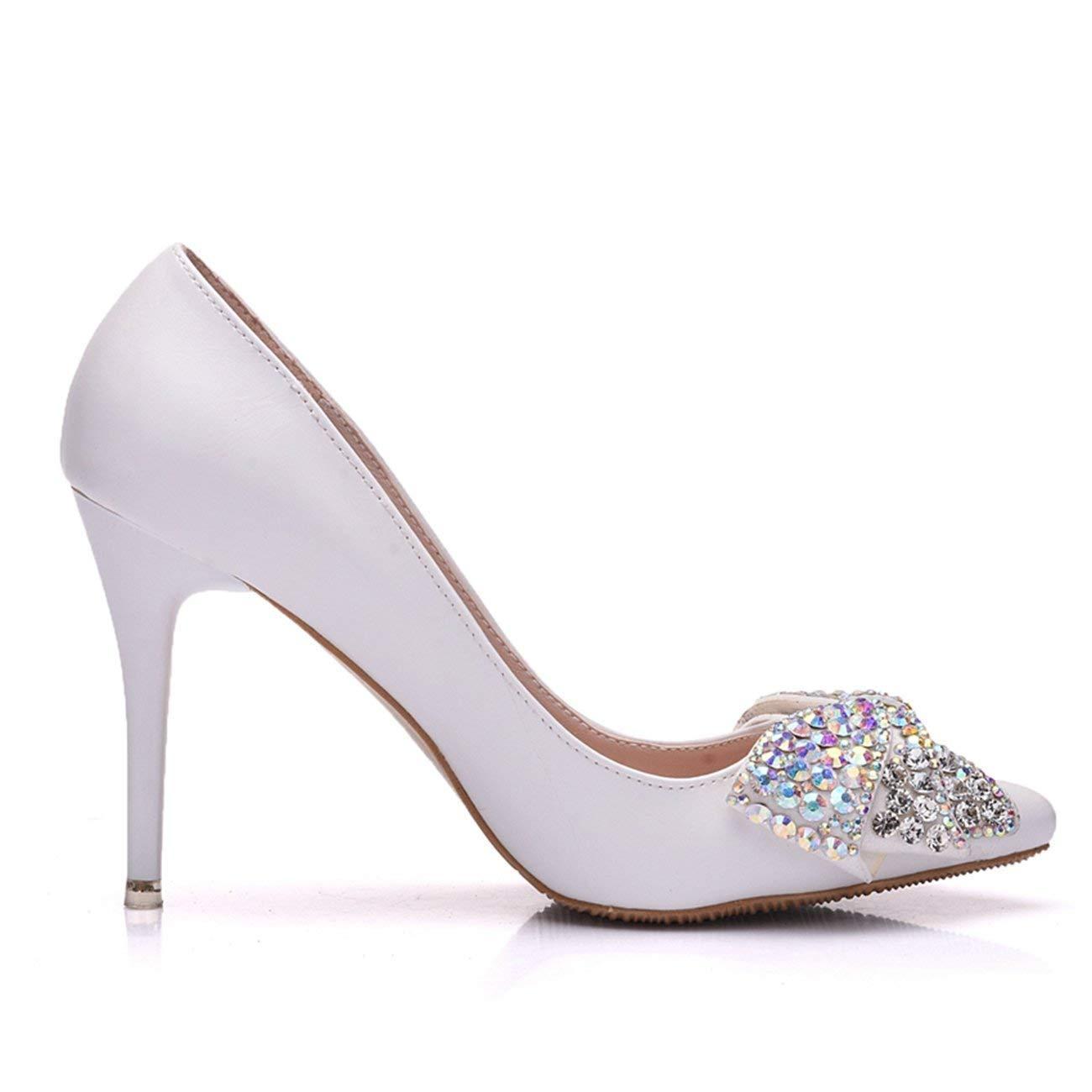Fuxitoggo Damen Bow Pailletten Slip-on Hochzeit Formale  Party Schuhe (Farbe   Formale Weiß-9cm Heel, Größe   4 UK) 0e9080