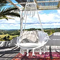 Kinden Hanging Cotton Rope Macrame Hammock Chair Macrame Swing 265 Pound Capacity Handmade Knitted Hanging Swing Chair for Indoor/Outdoor Home Patio Deck Yard Garden Reading Leisure Lounging