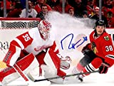 Ryan Hartman Autographed Signed Chicago Blackhawks Ice Spray on Jimmy Howard 8x10 Photo Photograph