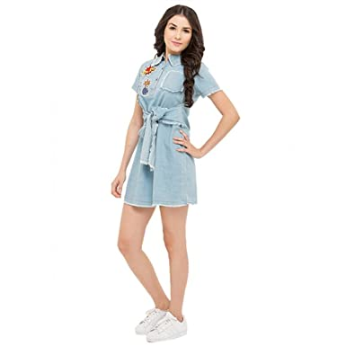 47aa51dd9ab The H & K Clothing's Women's Stylish Blue Patched Knee Length Dress ...