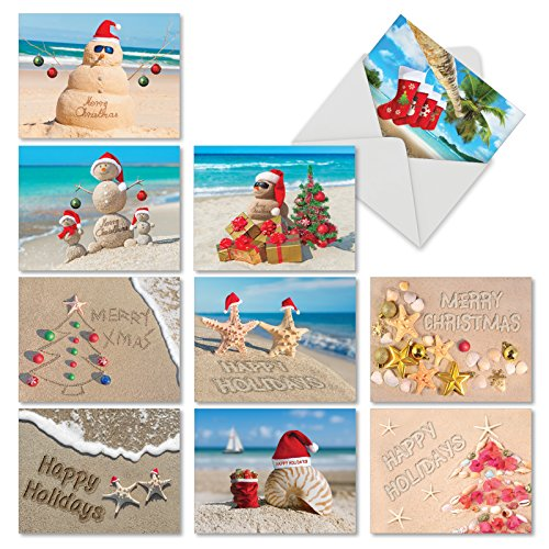 M6651XSG SEASON'S BEACHIN': 10 Assorted Christmas Note Cards: Assorted Christmas Greeting Cards With Envelopes. ()