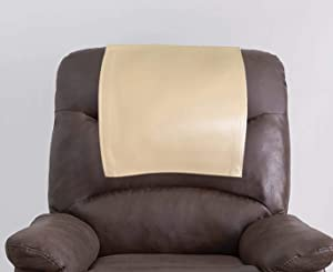 Genuine Leather Recliner Chair Headrest Cover, Furniture Protector, Loveseat Theater Seat Cover, Recliner Slipcovers Beige Set of 1