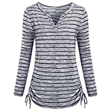 BCDshop Women's Stripe Print T-Shirt Long Sleeve Tops Blouse Casual Shirt (Navy, XL)