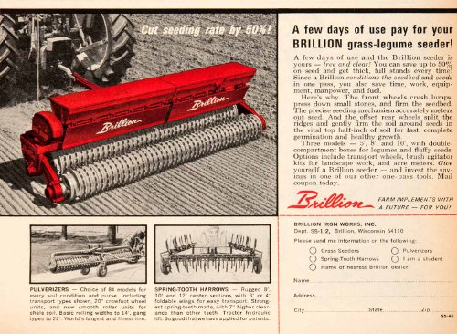 1966 Ad Brillion Iron Graws Legume Seeder Harrow Pulverizer Agriculture Machines - Original Print Ad from PeriodPaper LLC-Collectible Original Print Archive