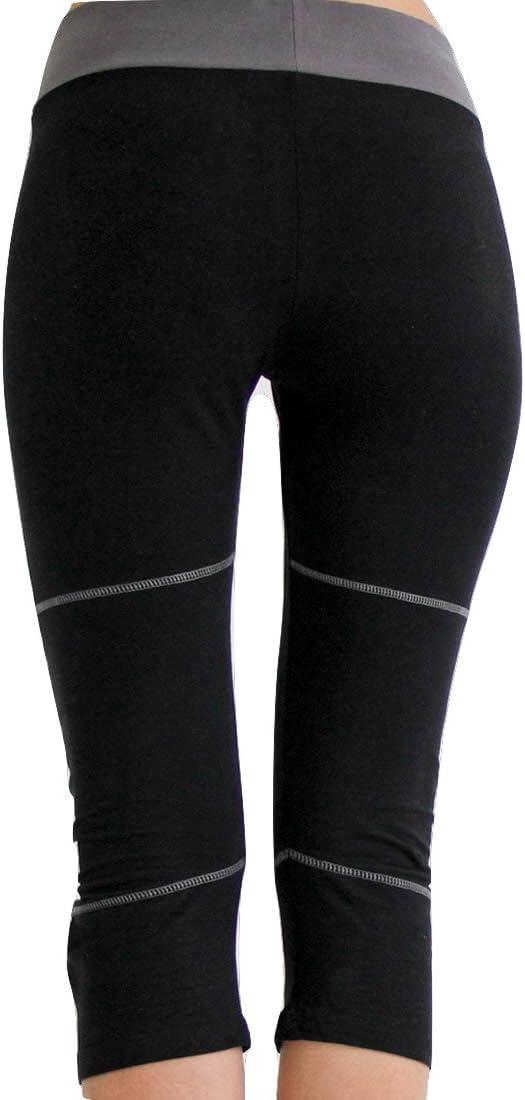 Cropped Tights in Charcoal Black Prancing Leopard Womens Yoga Pants Seychelles Organic Cotton Capri Leggings